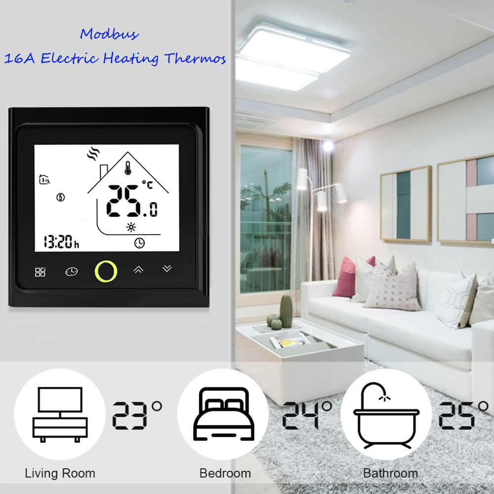 Thermostat Modbus Communication 16A Electric Heating Thermostat LCD Touch NTC Sensor Programmable Room Temperature Controller