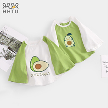 HHTU baby girls Half-sleeve T-shirt cotton Loose Casual tops Summer Autumn O-Neck clothes