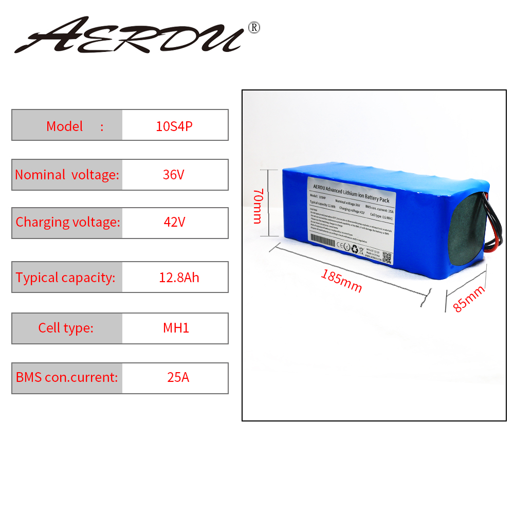 AERDU 36V 10S4P 12.8Ah 18650 3200mah 13ah 12ah with 25A BMS 42V Lithium Battery Pack Ebike Electric Car Bicycle Motor Scooter