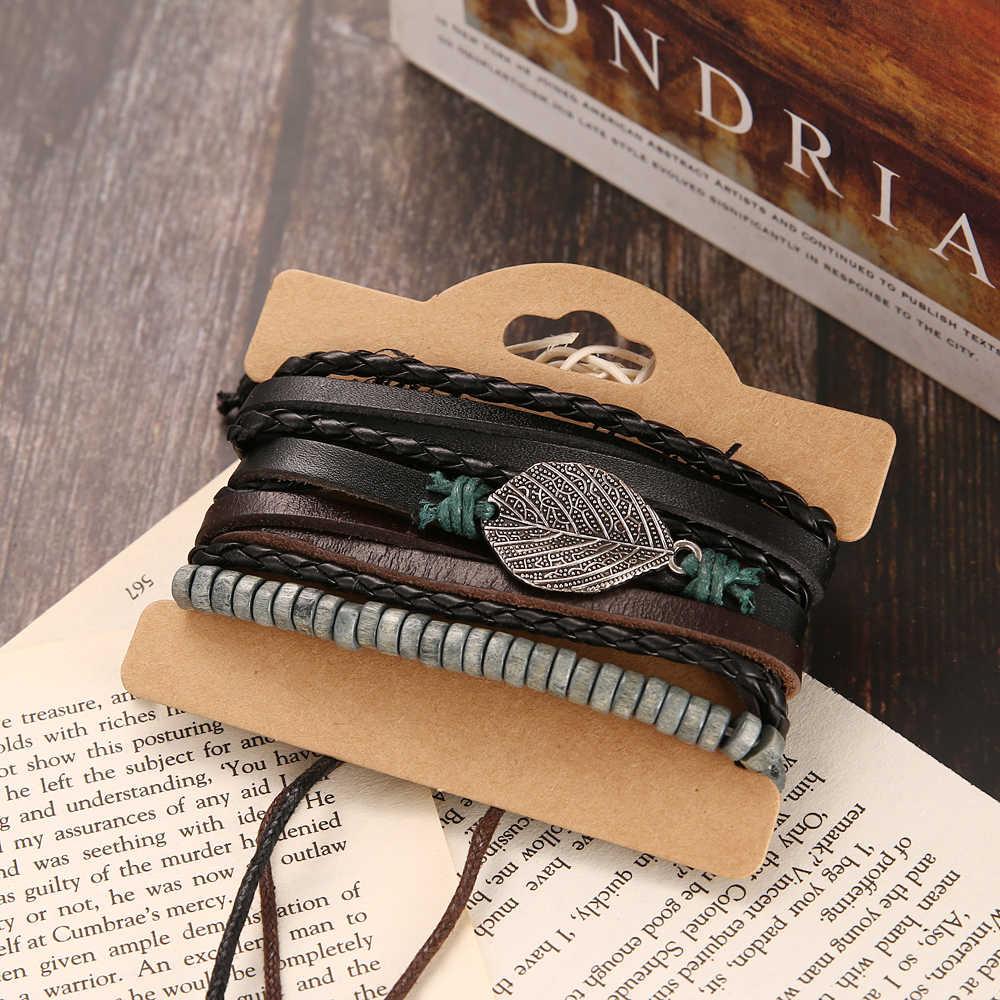 FAMSHIN Vintage wielowarstwowy skórzany zestaw bransoletek dla mężczyzn kobiety urok liść z piór kamień koraliki drewniane bransoletki Pulseras