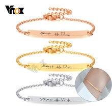 Vnox-pulsera minimalista de acero inoxidable para mujer, brazalete con barra fina, joyería personalizada, amistad, dama de honor, regalo
