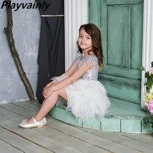 Robe à paillettes à plumes pour filles, en Tulle, vêtements de princesse pour enfants 2 10 ans E13846