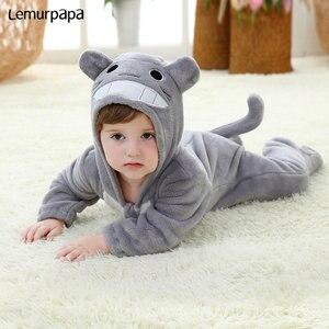 Image 4 - ベビーロンパース kigurumis 少年少女幼児ロンパーストトロ衣装グレーパジャマジッパー冬服幼児かわいい衣装猫ファンシー