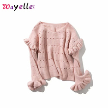 Sweaters Fashion 2019 Women Sweet Korean Lace Ruffles Decorate Hole V-Neck Knitted Slim Chic Womens Blouses