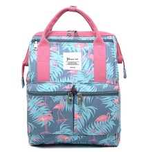 Women Printed Flamingo Waterproof Travel Nylon Backpack Student Cartoon Large Capacity Outdoor Phone Laptop Bag