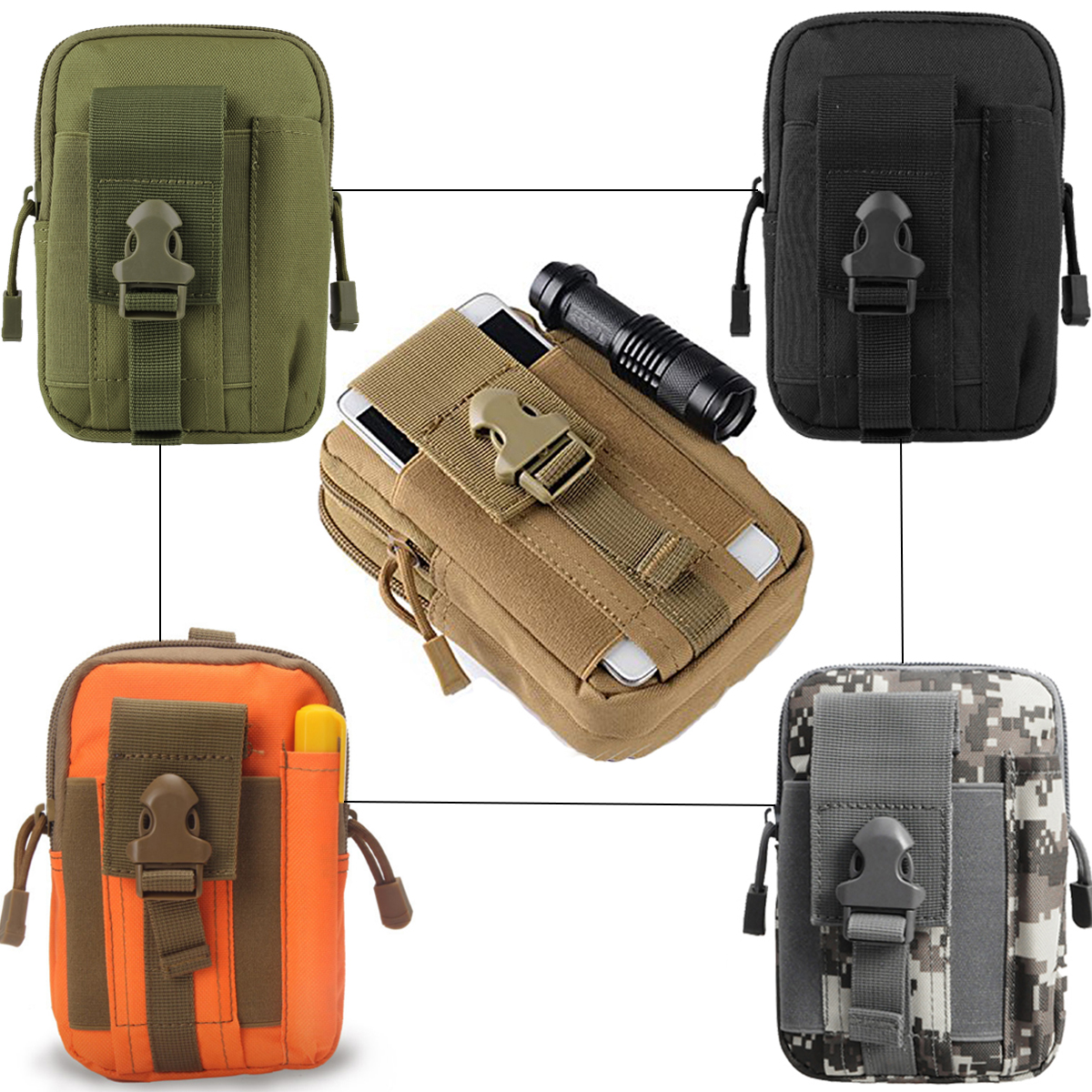 Tactical Molle Pockets Pouch Waist Belt Wallet Universal Holster Military Pack Outdoor Camping Climbing  Purse Hunting Phone Bag