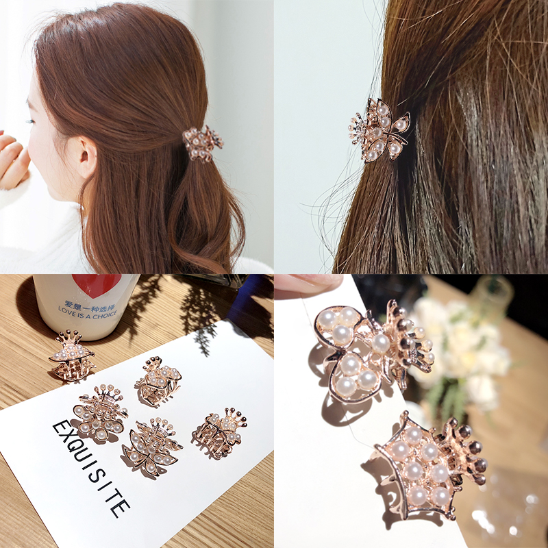 New Women Elegant Vintage Pearls Flower Small Hair Claws Sweet Headband Hair Clip Hairpin Hair Holder Fashion Hair Accessories
