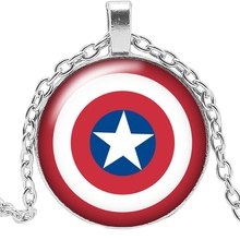 2019 New Movie Surrounding US Captain Shield Necklace Jewelry Pendant Crystal Convex Round Glass Childrens Gift