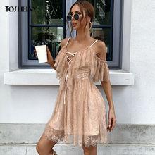 Женское мини платье на шнуровке с открытыми плечами и v образным
