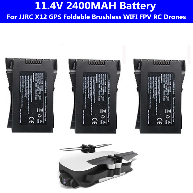 Original 1PCS Or 2PCS 11.4V 2400mAh Battery For EX4/ JJRC X12 GPS Brushless WIFI FPV RC Quadcopter Drones Spare Part Battery