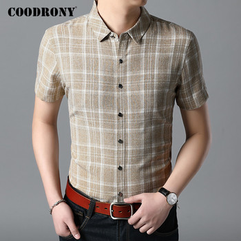 COODRONY Men Shirt Cotton Fashion Plaid Camisa Masculina Spring Summer Short Sleeve Business Casual Shirts Mens Clothes C6020S coodrony men shirt spring summer short sleeve casual shirts cotton fashion plaid camisa masculina with pocket mens dress c6008s