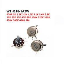 2PCS WTH118 2W 1A Potentiometer 1K 2.2K 4.7K 10K 22K 47K 100K 470K 1M WTH118-2W Round Shaft Carbon Rotary Taper Potentiometer
