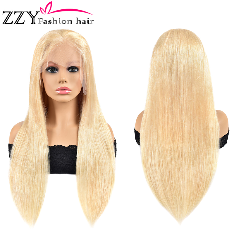 ZZY Fashion Straight 613 Blonde Human Hair Wigs Peruvian Lace Front Wig 150% Density 8-24'' Non-remy 13X4 Lace Frontal Wigs