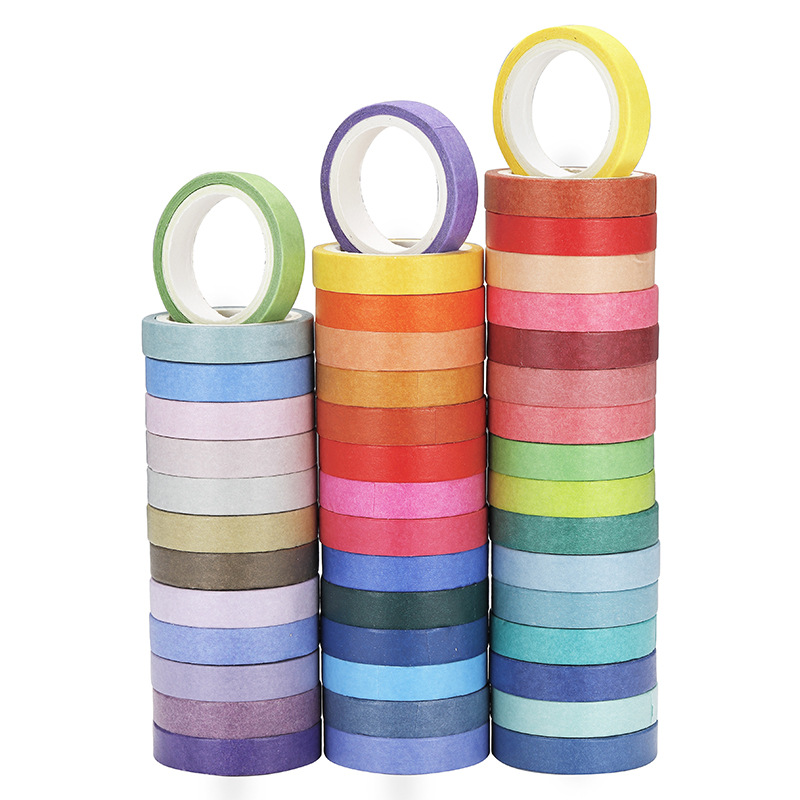 60Rolls/Lot Rainbow Candy Color Washi Tape 8mm Slim Decoration Masking Tapes Diary Photo Album Stickers Gift Stationery Tools