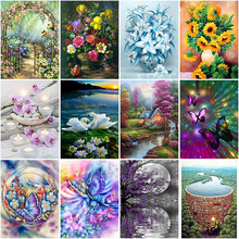 DIY 5D Diamond Painting Flower Diamond Embroidery Landscape Lake Cross Stitch Full Round Drill Rhinestones Manual Art Home Decor diapai 100% full square round drill 5d diy diamond painting flower landscape diamond embroidery cross stitch 3d decor a21095