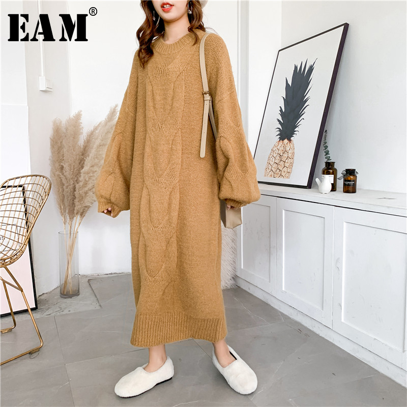 [EAM] Women Camel Big Size Knitting Long Dress New Round Neck Long Sleeve Loose Fit Fashion Tide Autumn Winter 2020 1Y205