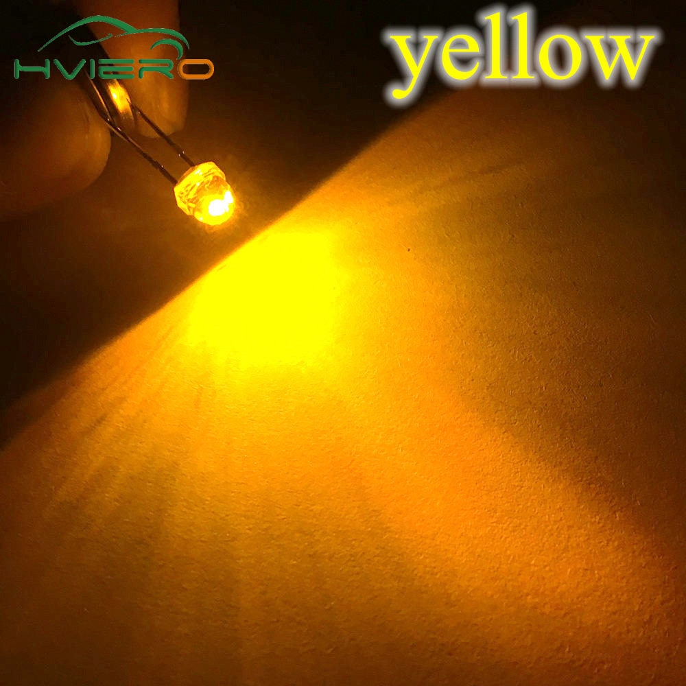 50PCS F5 5mm YELLOW Straw Hat Superbright LED Lamp LED Light