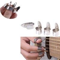 4 Uds. De púas para guitarra de acero inoxidable, 3 dedos pulgar y 1, conjunto de Metal acústico, accesorios para guitarra eléctrica