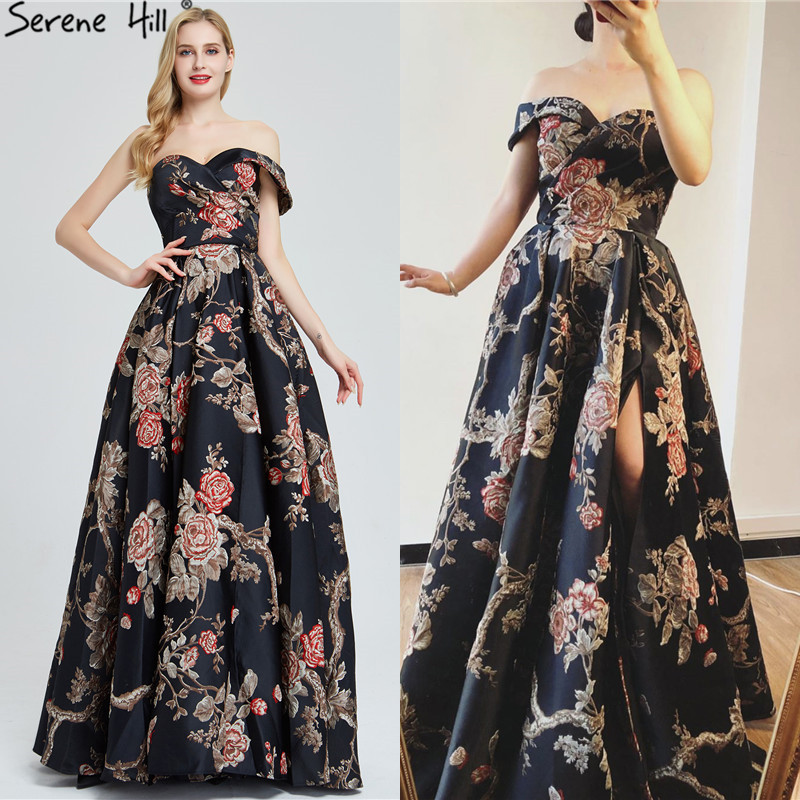 Image 3 - Navy Blue Embroidery Flowers Sexy Evening Dresses 2020 One Shoulder Sleeveless Evening Gowns Serene Hill LA60904Evening Dresses   -