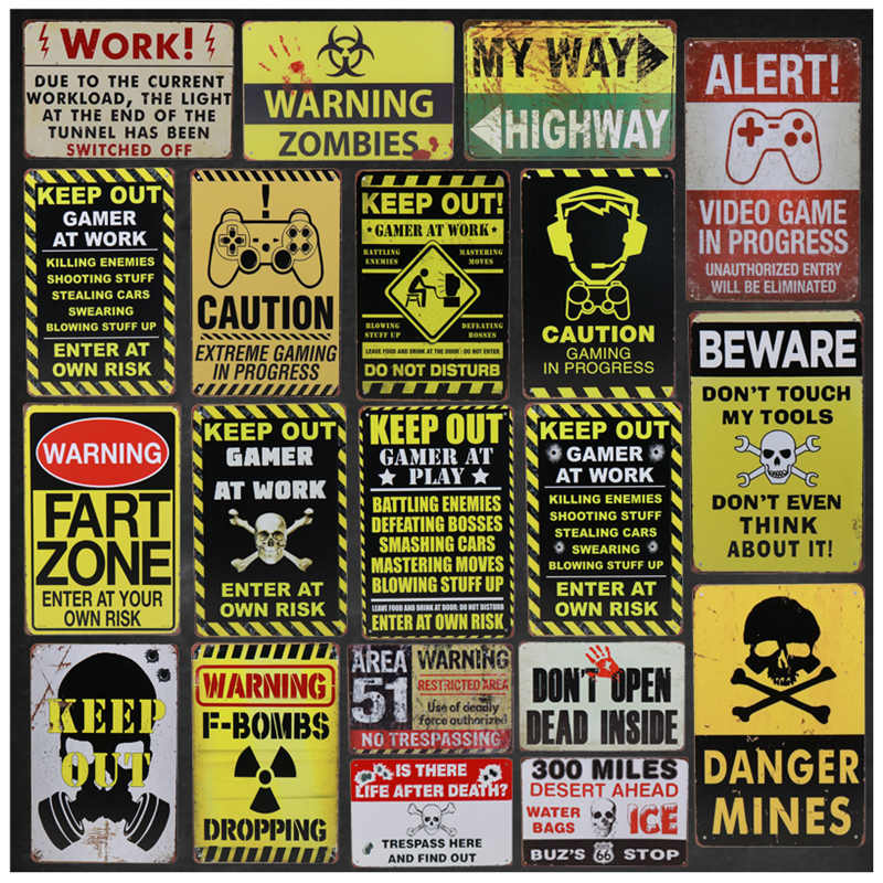 Vintage Metal Retro Stickers Tintin Plaque Tin Signs Keep Out Danger Sign Bar Poster Art Iron Wall Decor Painting 8x12 Inch H75
