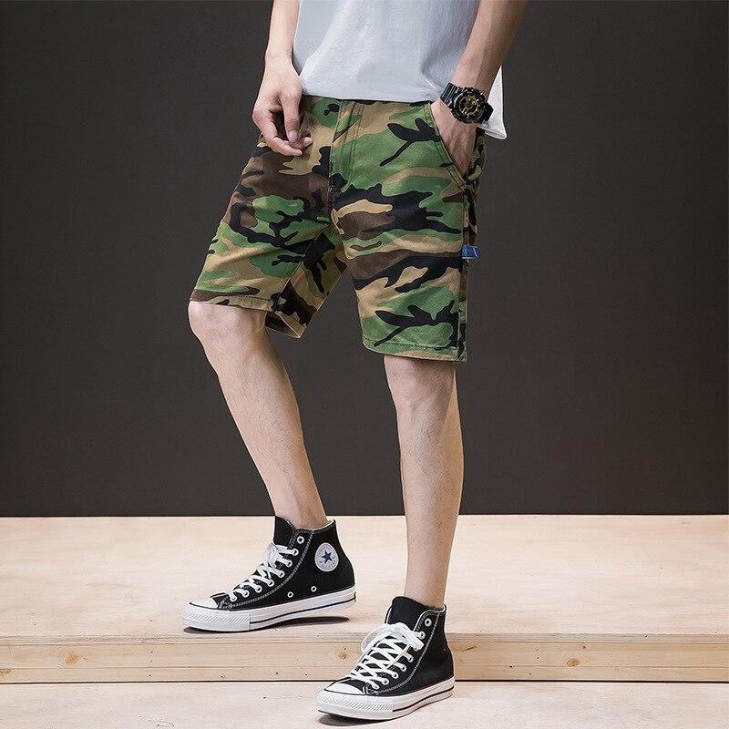 Military Cargo Shorts Men Summer Camouflage Pure Cotton Fashion Clothing Comfortable Pantalones Cortos Hombre Camo Shorts EE6DK