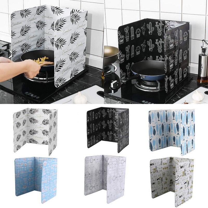 1PC Kitchen Gadgets Oil Splatter หน้าจออลูมิเนียมแผ่นฟอยล์แก๊สเตา Splash Proof Baffle ห้องครัวเครื่องมือทำอาหาร