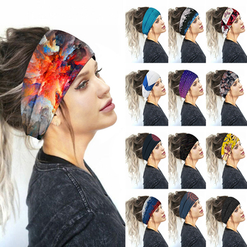 2020 New Printed Sports Wide Turban Headband Women Girls Hair Head Hoop Bands Wrap Accessories Scrun
