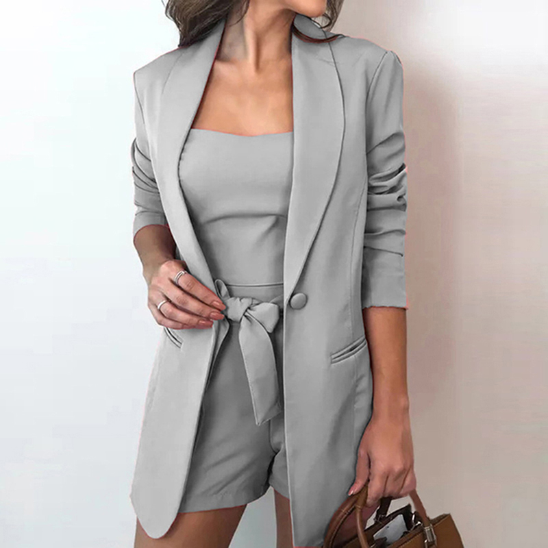 Women Three Pieces Set Autumn Fashion Long-sleeved Jacket Sling Top Female Shorts Suit For Office Ladies Shorts Three Piece Set