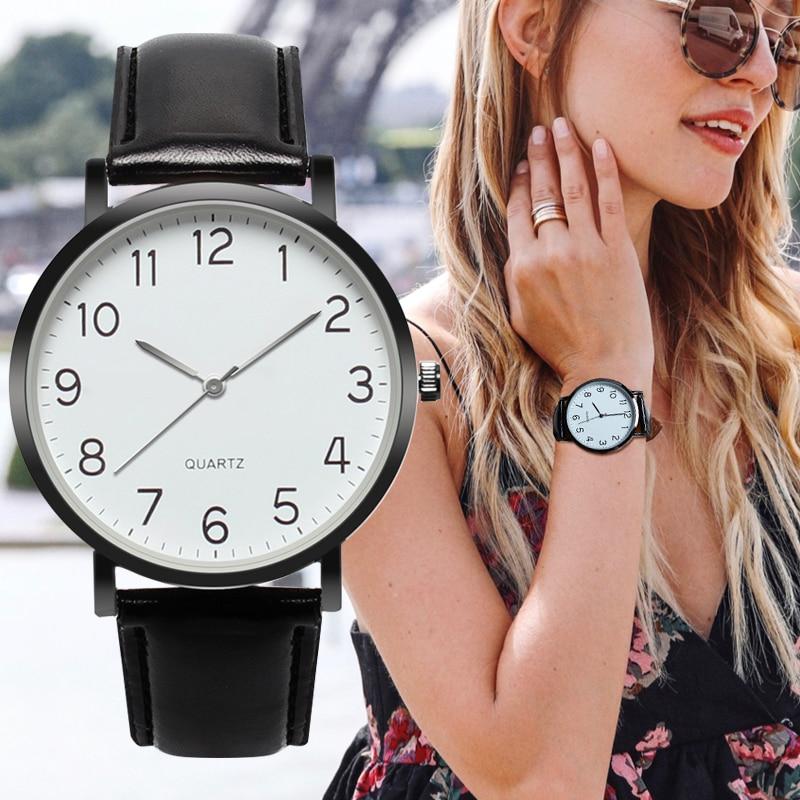 Fashion Women's Watch Arabic Number Unisex Strap Minimal Round Dial Classic Black Leather Strap Ladise Watches Wrist Watch
