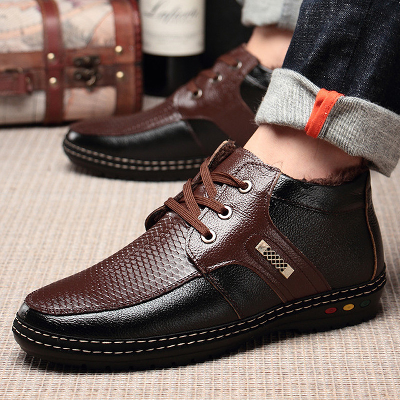 Men's winter boots for 2018 soft genuine leather snow boots Waterproof and snowproof and Non-slip Plus cashmere warm shoes