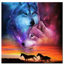 Diamond-Painting Embroidery Wolf-Horse Rhinestones Animals Mosaicrp172 Round/square Full