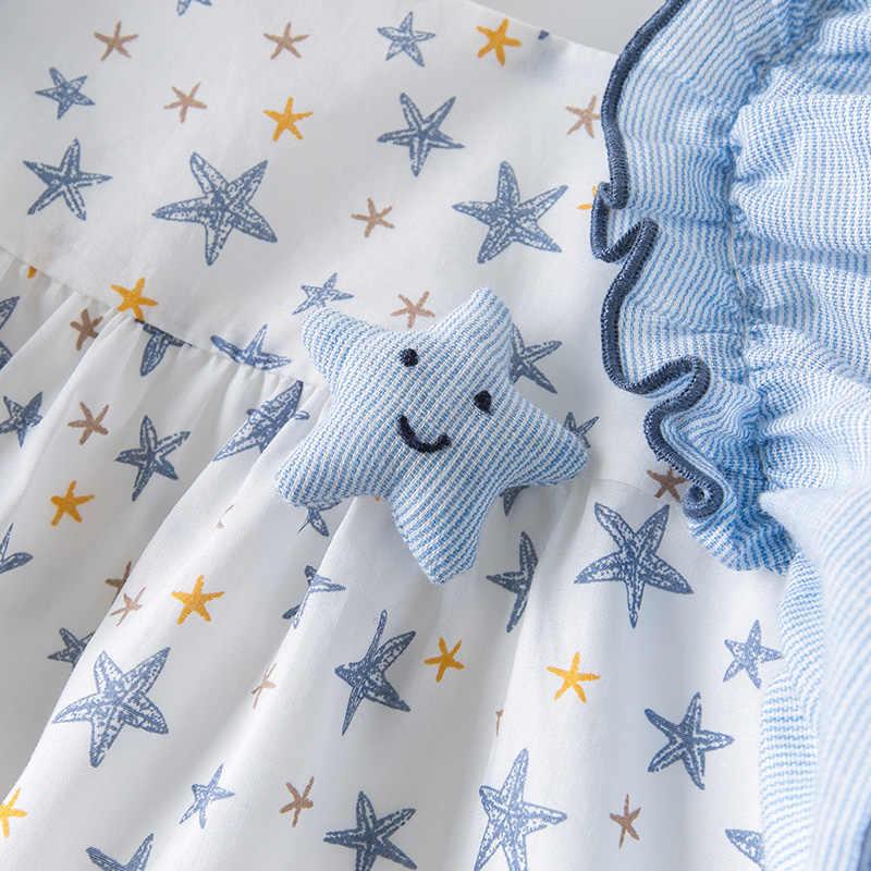 DBM13897 דייב bella קיץ תינוקת של נסיכת כוכבים הדפסת ruched שמלת ילדי אופנה המפלגה שמלת ילדים תינוקות לוליטה בגדים