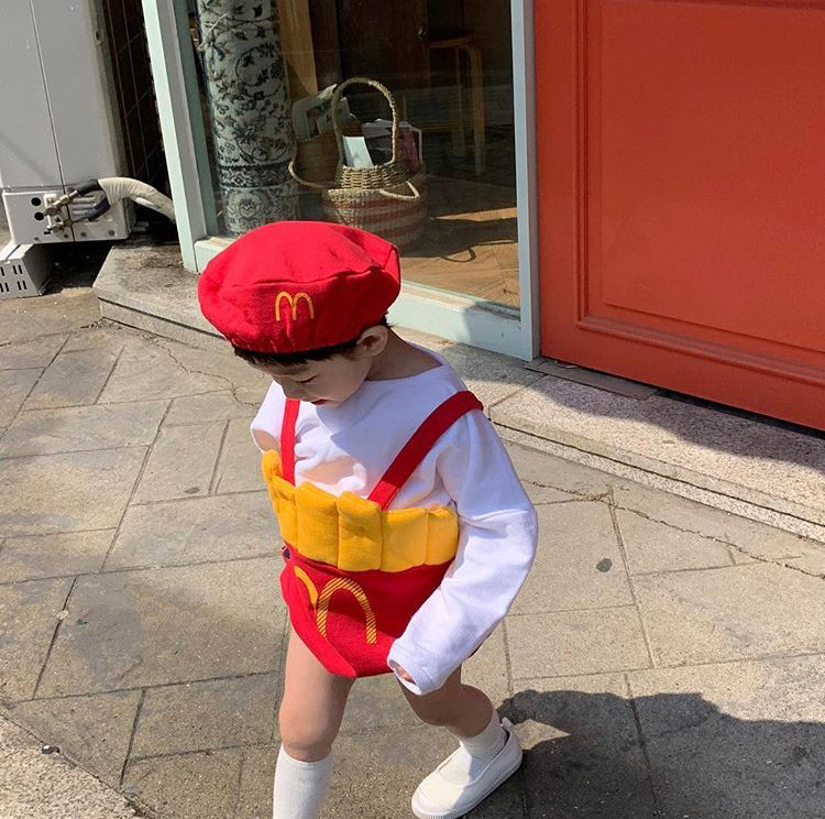 Newborn Baby Clothes French Fries Cosplay Halloween Clothes Christmas Boys Rompers Kids Costume For Girl Thanksgiving 9 12 Month