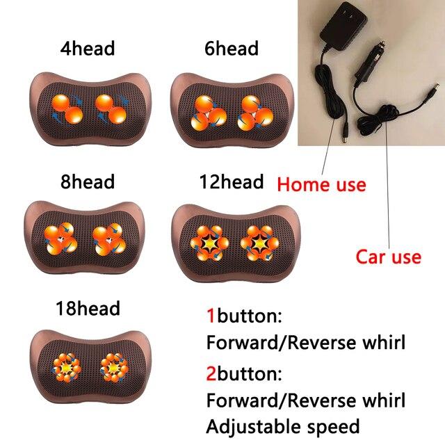 Masajeador de cuello para almohada de masaje de cuello masajeador de cuerpo eléctrico masajeador de cabeza y espalda masajeador de calor de brazo de pie y cara para uso doméstico de coche