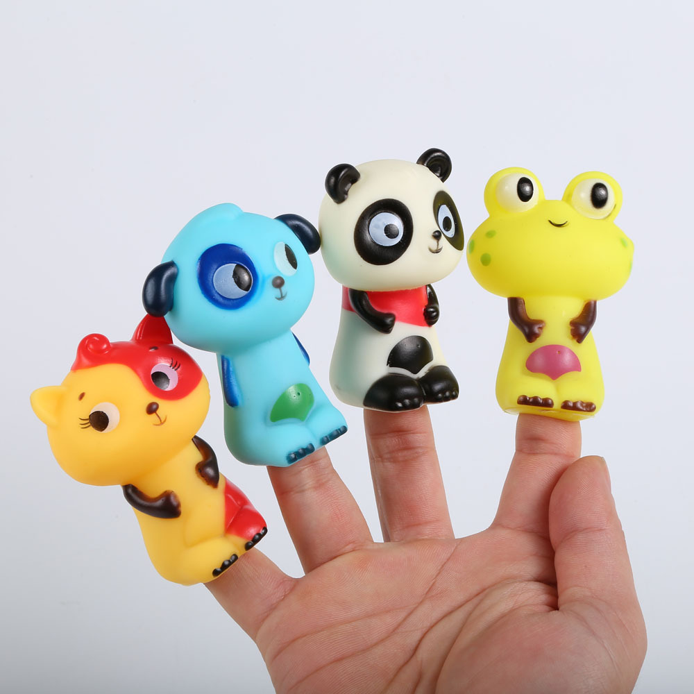 4Pcs Interactive Animal Finger Puppet Doll Set Educational Cognition Cartoon Toys for Boys and Girls Birthday Popular Gifts