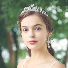 Rhinestone Stars Bridal Crowns and Tiara Sets Hair Accessories Wedding Headpiece Silver Color