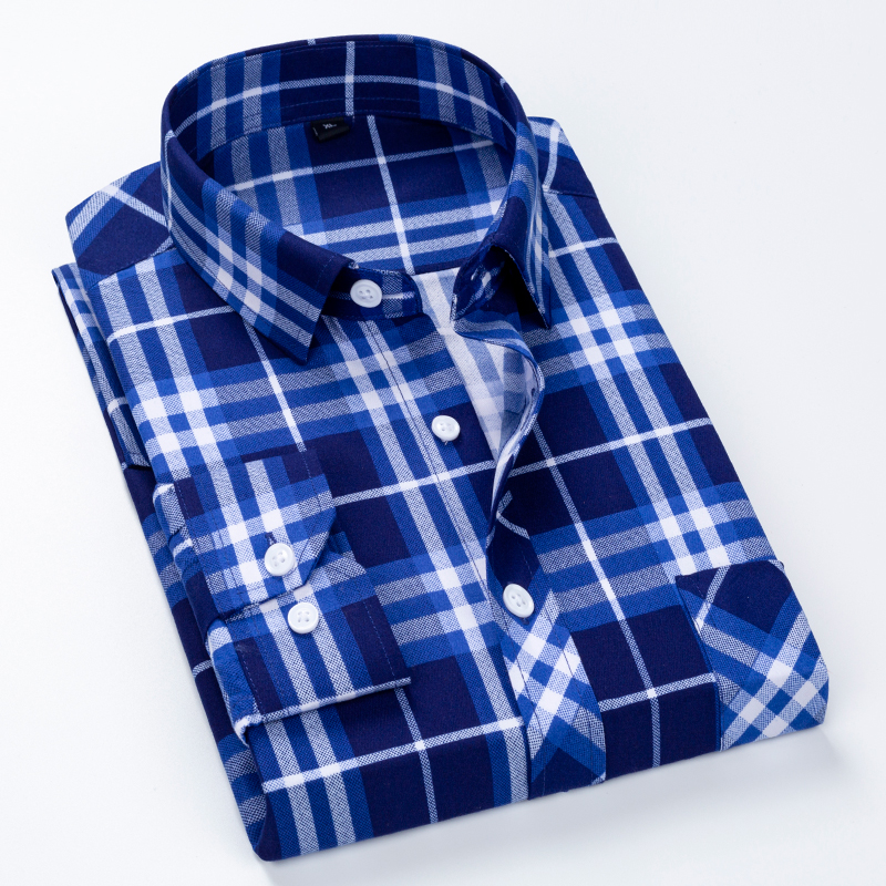 Classic Plaid Short Sleeved Fashion Shirts For Men Slim Fit Square Collar Summer Soft Causalmale Tops With Front Pocket