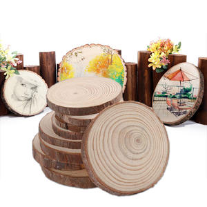Circles Log-Discs Wood-Slices Unfinished Round Diy-Crafts Wedding Natural with Tree-Bark