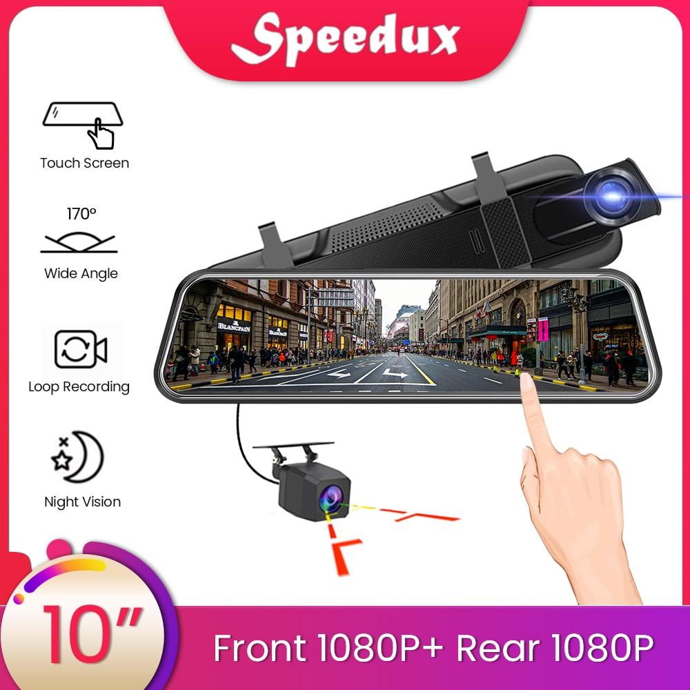 Otomobiller ve Motosikletler'ten DVR/Dash Kamera'de 10 inç dokunmatik ekran araba dikiz aynası Dash kamera ayna FHD araba dvr'ı ayna çift Lens dikiz kamera kaydedici DashCam title=