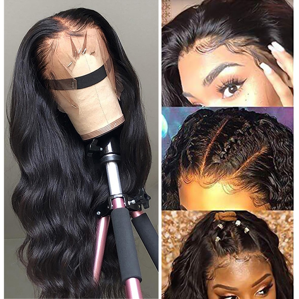Morichy Body Wave 13X4 Front Lace Wigs Peruvian Non-Remy Real Human Hair 150% Density Natural Black DIY Hairstyles For Female
