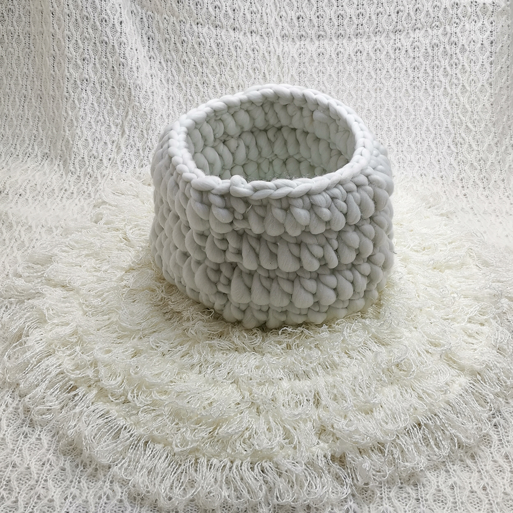 150x100cm Baby Posing Layer Backdrop+Knitted Basket+50cm Round Crocheted Blanket For Newborn Baby Photography Props