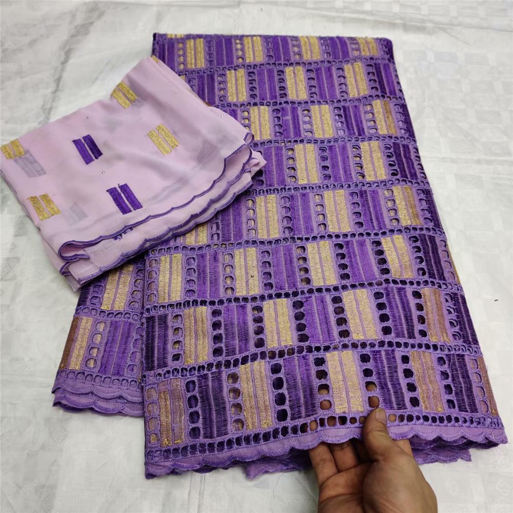 5 + 2 ярдов швейцарские кружева Высокое качество Африканский 100% хлопок кружевная ткань с камнями для нигерийских каждое платье Вечерние