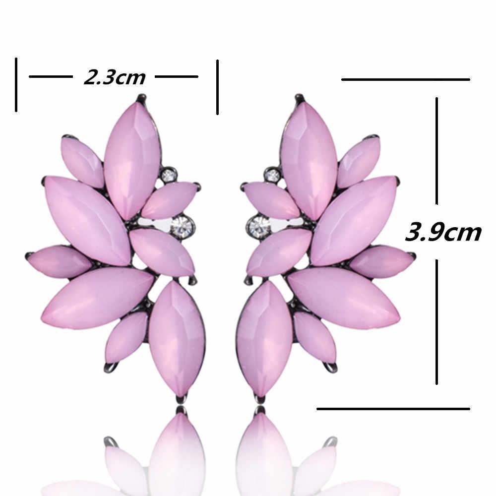 Fleur verre boucle d'oreille pour les femmes noir rouge rose grand luxe goutte boucles d'oreilles pendentif cristal gemme déclaration bijoux pour fille