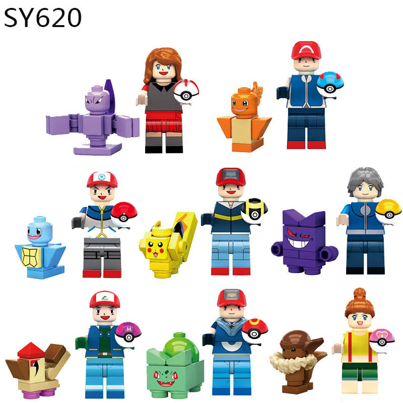 Compatible Legoingly Original Anime Pokemon Pet Elf Pikachu Jenny SpongeBob Piestar King Crab King Gift Assemble Blocks Toy