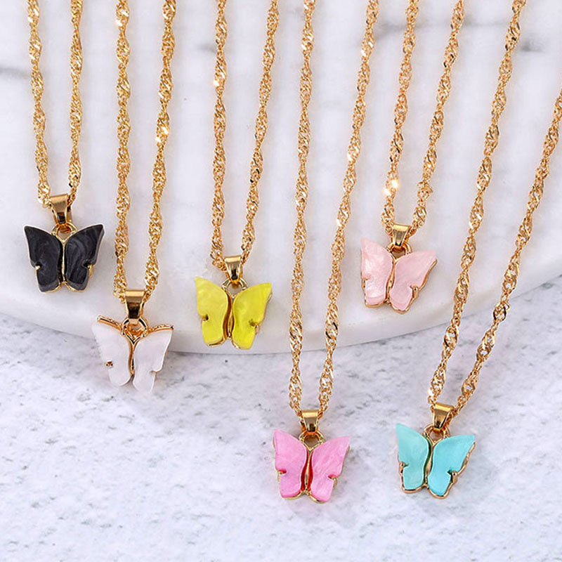 EN Butterfly Necklaces for Women Gold Clavicle Chain Pendant Necklace Fashion Female Chocker Colar 2020 New Jewelry Accessories