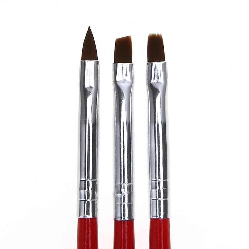 3 adet/takım astar yağ Painng kalem 3D İpuçları DIY akrilik fırçalar çizim seti çiçek izgara fransız tasarım için manikür aracı suluboya