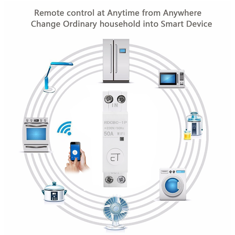 eWelink 1P WiFi remote control circuit breakerSmart din rail switch compatiable with amazon Alexa and google home for Smart Home 4