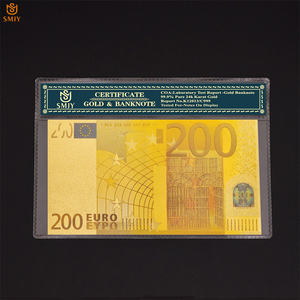 Best Price For The Colored European Gold Banknote New 200 Euros Money in 24k 99.9% Gold For Collection With COA Frame Gift