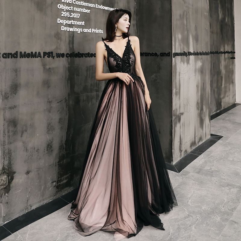 AE520 New Sexy   Evening     Dress   V-neck Sleeveless Flower Appliques Crystal Prom Party Gowns Robe De Soiree
