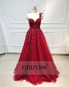 Image 3 - New 2019 Evening Dresses Long with Slit One Shoulder Beaded Flower Evening Gown Formal Party Dress Vestido de Fiesta de noche
